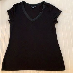 Banana Republic black tee with silk detail at neck